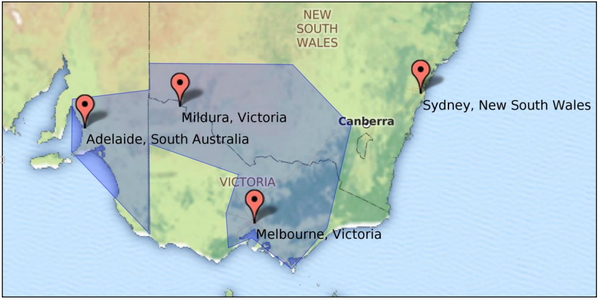 CropLogic's target geography - the 'Southern Regions' showing the location of Mildura, Victoria