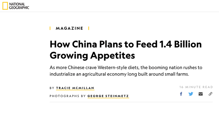 China has to feed nearly three times the number of people per unit of land as the rest of the world.