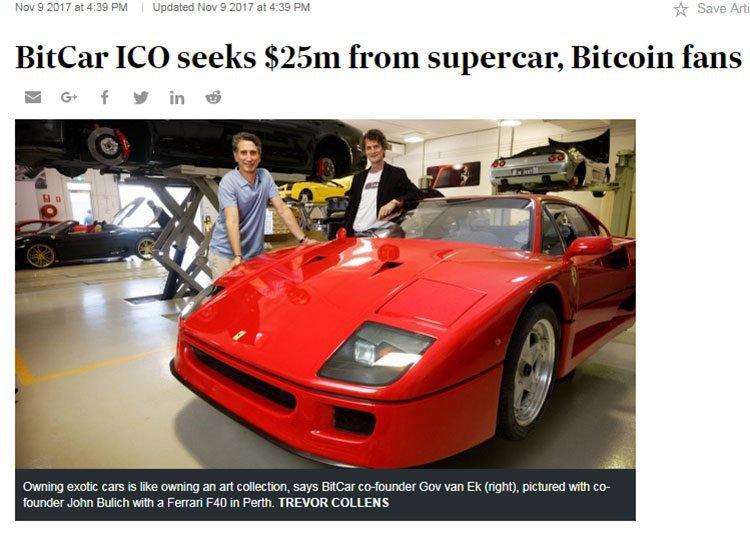 Bitcar initial price offering