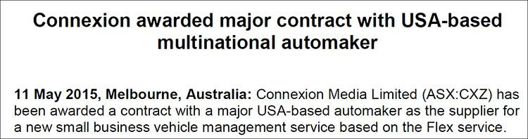 Connexion Media (ASX:CXZ) awarded major contract with USA based multinational automaker