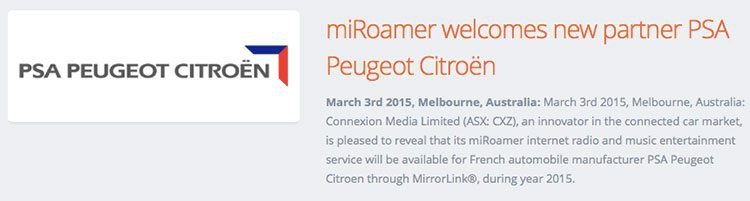 Connexion Media (ASX:CXZ)'s miRoamer has a new partner – Peugeot Citroen