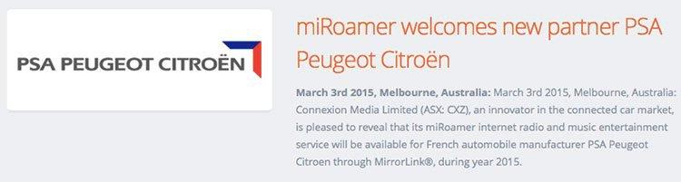 Connexion Media (ASX:CXZ)'s miRoamer has a new partner – Peugeot Citroen