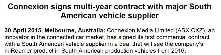Connexion Media (ASX:CXZ) signs multi-year contract with major South American vehicle supplier