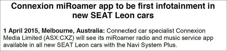 Connexion Media (ASX:CXZ)'s miRoamer app to be first infotainment available in new SEAT Leon cars