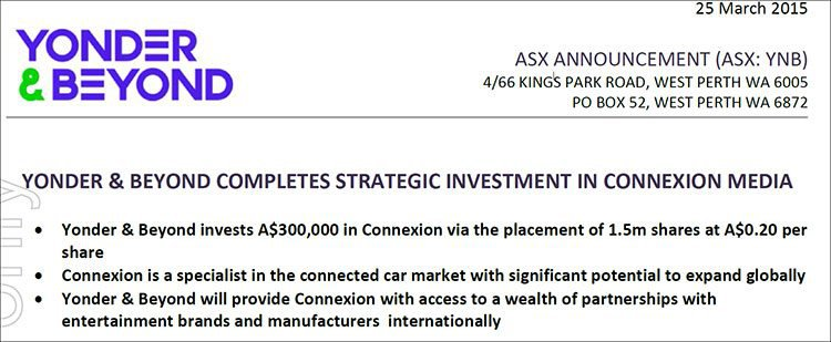 Yonder & Beyond (ASX:YPB) complete strategic investment in Connexion Media (ASX:CXZ)